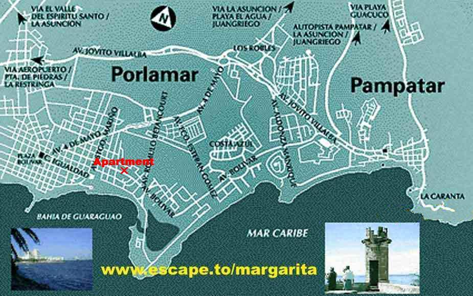 A Map of Porlamar and Pampatar on Margarita island, Venezuela Map Of Isla Margarita Venezuela on puerto cabello venezuela map, simple venezuela map, maracaibo venezuela map, porlamar venezuela map, merida venezuela map, ciudad bolivar venezuela map, valencia venezuela map, barquisimeto venezuela map, argentina and venezuela map, paria peninsula venezuela map, venezuela river map, los roques venezuela map, venezuela colombia map, caracas venezuela map, punto fijo venezuela map, venezuela south america map, la guaira venezuela map, puerto la cruz venezuela map, aruba venezuela map, venezuela on a map,